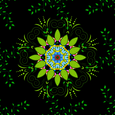 Seamless green leaves on black background with mandalas. Raster illustration texture. Stock Photo