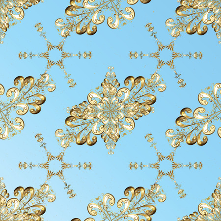 Oriental classic golden pattern. Abstract background with repeating elements. Blue on background. Stock Photo
