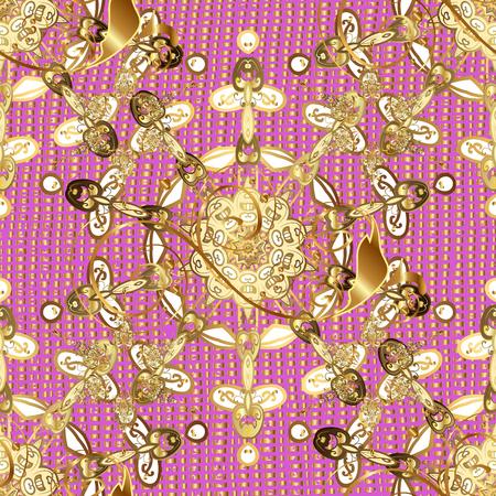 attern: Oriental style arabesques. Golden pattern. Golden textured curls. ?attern on pink background with golden elements.