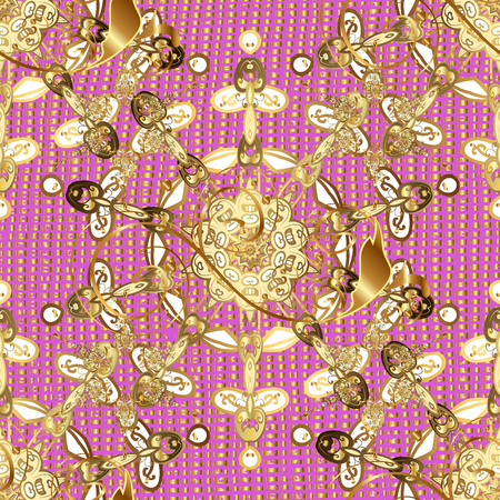 Oriental style arabesques. Golden pattern. Golden textured curls. ?attern on pink background with golden elements.