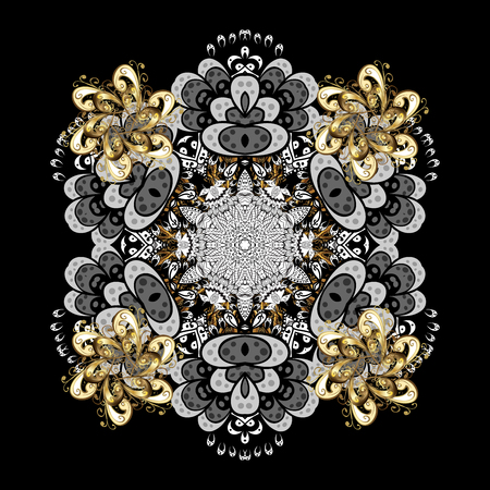 Ornate decoration. Damask pattern background for sketch design in the style of Baroque. Golden pattern on black background with golden elements. Stock Photo