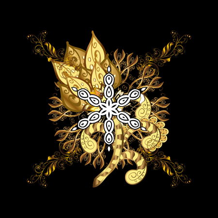 Oriental ornament. On black background with golden elements and with white doodles. Golden pattern.