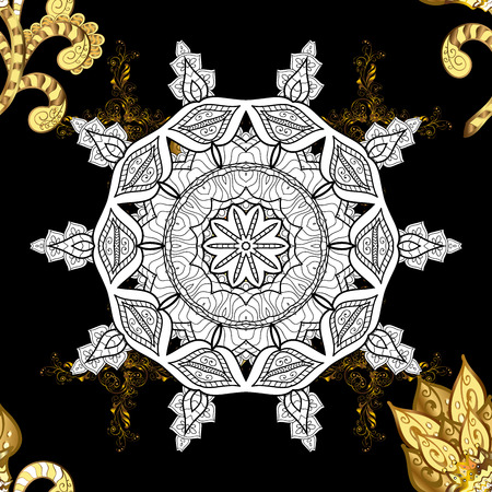 Damask seamless pattern repeating background. Gold black floral ornament in baroque style. Antique golden repeatable sketch. Golden element on black background.