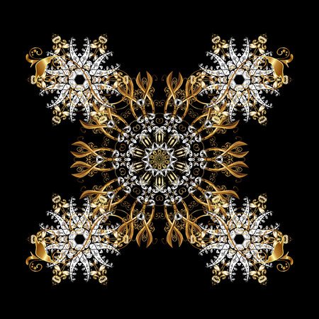 Floral ornament brocade textile pattern, glass, metal with floral pattern on black background with golden elements. Classic golden pattern. Stock Photo
