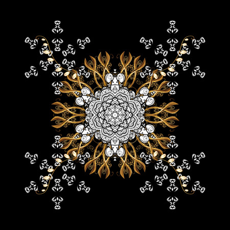 Traditional classic golden. Black background with golden elements. Oriental ornament in the style of baroque.