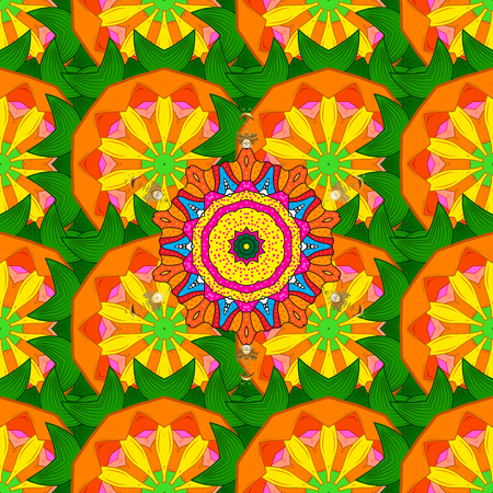 qigong: Unusual ornament decoration. Colorful colored tile mandala on a background. Boho abstract seamless pattern. Intricate floral design element for sketch, gift paper, fabric print, furniture. Stock Photo