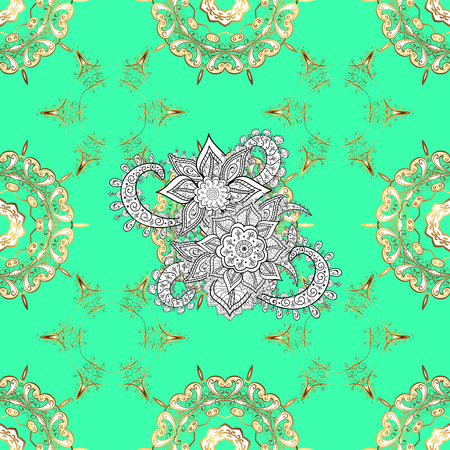 Seamless royal luxury golden baroque damask vintage. Pattern background sketch with gold antique floral medieval decorative 3d flowers, leaves and gold pattern ornaments. Green on background.