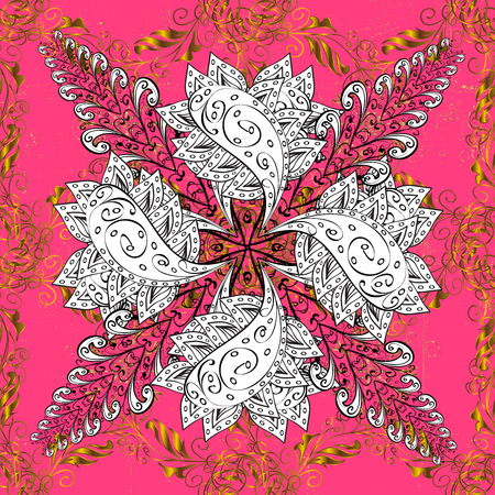 Traditional classic golden. Golden elements on pink background. Oriental ornament in the style of baroque. Stock Photo