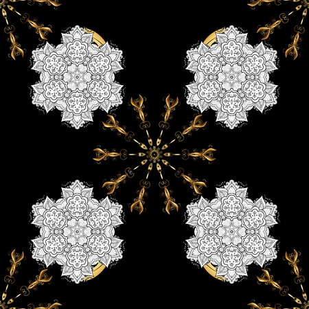 Damask seamless pattern repeating background. Golden element on black background. Gold black floral ornament in baroque style. Gold Sketch on texture background. Stock Photo