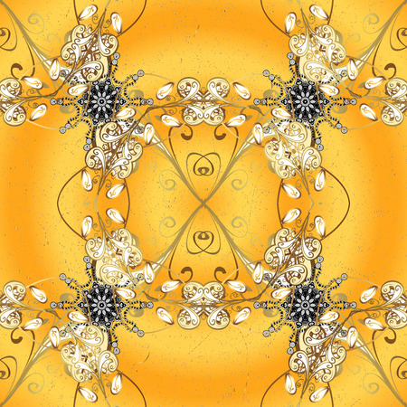 Golden textured curls in oriental style arabesques. Golden pattern on yellow background with white doodles. Golden pattern.