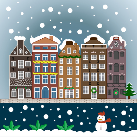 Winter village night Christmas background.