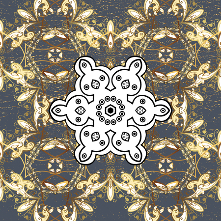 tillable: Textured curls. Oriental style arabesques golden pattern on a gray background with golden elements. Vector golden pattern.