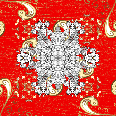 Vector illustration. Damask gold abstract flower on red background. Ornate decoration. Illustration