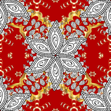 Antique golden repeatable sketch. Damask seamless pattern repeating background. Gold red floral ornament in baroque style. Golden element on red background. Illustration
