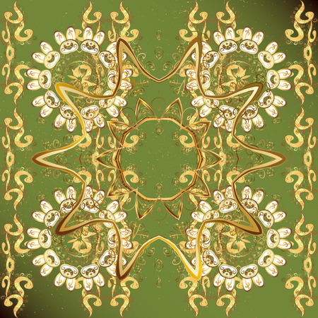 Hand drawn decorative frame, album cover, invitation, greeting card, vintage Art deco style. Vector abstract floral wreath from golden doodle fantasy leaves and flower on a green background.