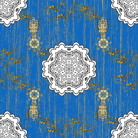 Gold Floral Ornament In Baroque Style Damask Repeating Background Golden Element On Blue