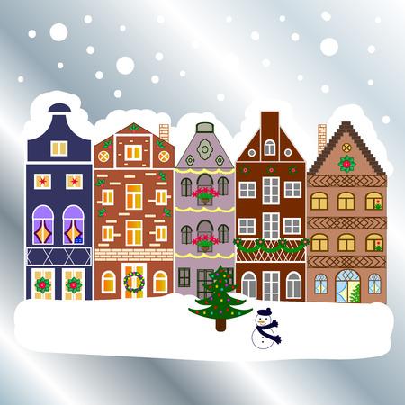 Snowy street. Christmas card Happy Holidays banner. Flat design. Urban winter landscape. Vector illustration. Illustration