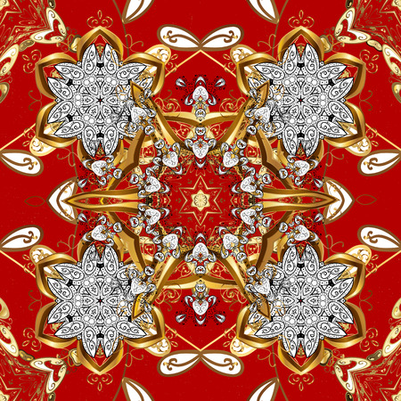 Seamless oriental ornament in the style of baroque. Traditional classic vector golden seamless pattern. Red background with golden elements.