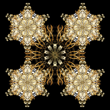 friso: Oriental ornament in the style of baroque. Vector traditional classic golden pattern with white doodles on black background. Vectores