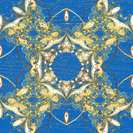 Vector golden pattern. Golden textured curls. Oriental style arabesques. ?attern on blue background with golden elements.
