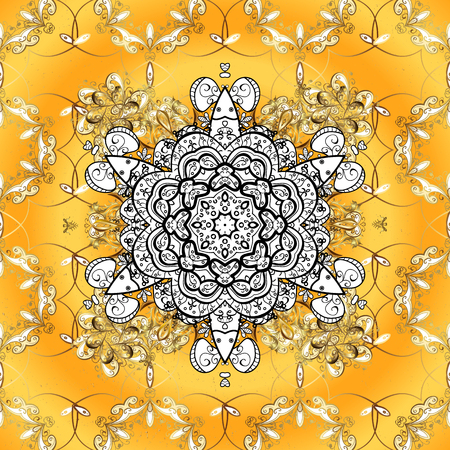Vector illustration. Oriental classic golden pattern. Vector abstract background with repeating elements on yellow background.