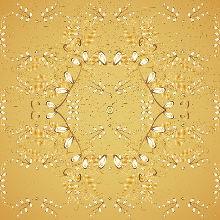 attern: ?attern on yellow background with golden elements. Oriental style arabesques. Golden textured curls. Vector golden pattern. Illustration