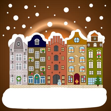 Background. Evening village winter landscape with snow cove houses. Vector illustration. Christmas winter scene. Illustration