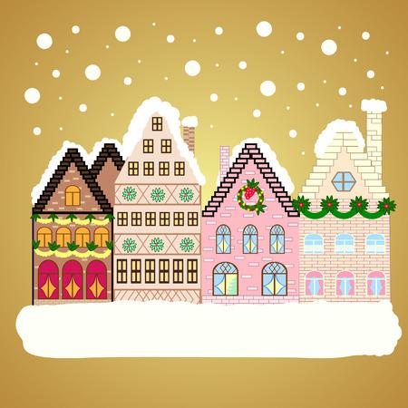 Illustrazione vettoriale. Natale e biglietto di auguri di buon anno.
