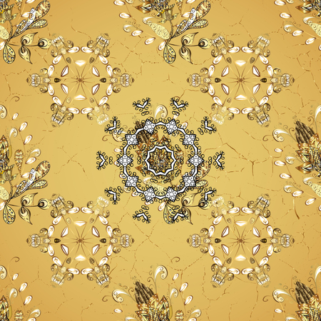 tillable: Christmas, snowflake, new year. Golden pattern on yellow background with golden elements. Vintage pattern on yellow background with golden elements.