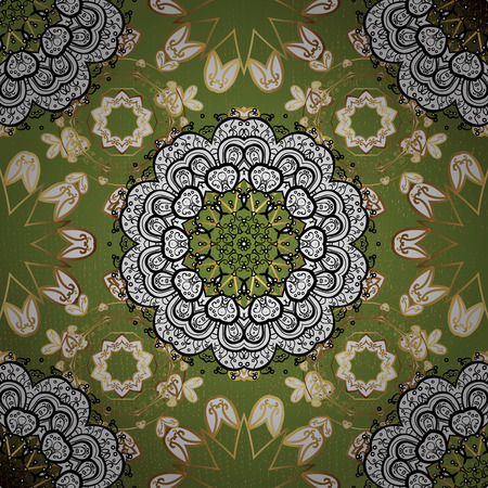 Flat hand drawn vintage collection. Golden pattern on green background with golden elements. Golden. Backdrop, fabric, gold sketch.