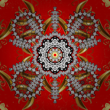 friso: Classic golden. Floral ornament brocade textile pattern, glass, metal with floral pattern on red background with golden elements.