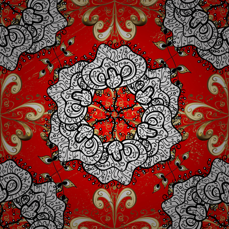tillable: Traditional arabic decor on red background. With floral ornament. Golden ornate illustration for sketch. Ornamental lace tracery. Vintage design element in Eastern style.