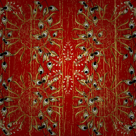 Abstract background with repeating elements. Golden pattern on red background with golden elements. Damask classic white and golden pattern.