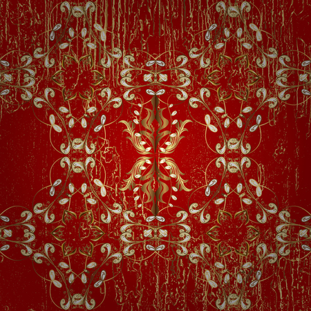 drapes: Red and golden pattern. Elegant classic pattern. Abstract background with repeating elements. Stock Photo