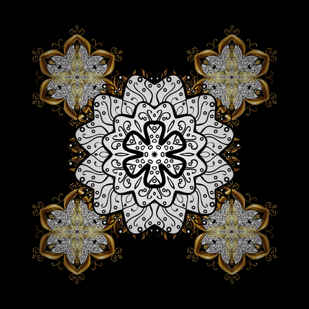 Brilliant lace, stylized flowers, paisley. On black background with golden elements. Golden texture curls. Openwork delicate golden pattern. Oriental style arabesques. Stock Photo