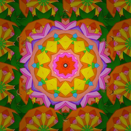 Vintage pattern. Colored stickers, flash temporary tattoo, mehndi and yoga design, boho, magic symbol. Invitation, wedding card, scrapbooking. Decorative ornate round mandala. Colored over. Stock Photo