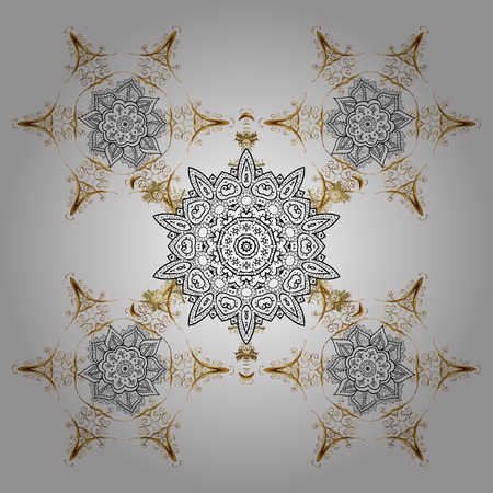 Simple snowflakes, floral elements, decorative ornament. Winter pattern on white background. Arab, Asian, ottoman motifs in white colors. Illustration. Stock Photo