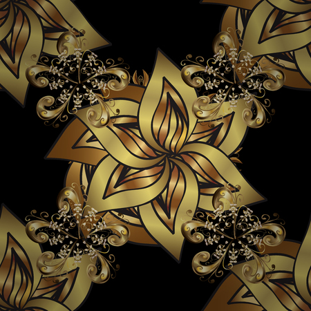 Oriental ornament. Seamless oriental ornament in the style of baroque. Traditional classic golden pattern. Golden pattern on black background with golden elements. Stock Photo