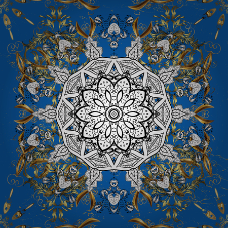 trendy tissue: Ornamental floral elements with henna tattoo, golden stickers, mehndi and yoga design, cards and prints. Pattern on blue background. Golden mehndi. Stock Photo