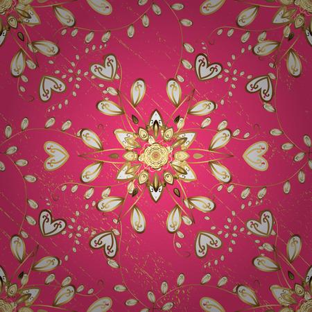 Pink background with golden elements. Golden pattern. Metal with floral pattern. Golden floral ornament brocade textile pattern.