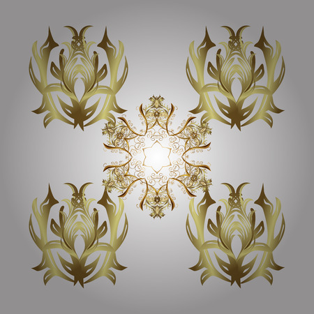 quadratic: Golden snowflake. Snowflakes pattern. Snowflakes background. Flat design with abstract snowflakes isolated on white background. Stock Photo