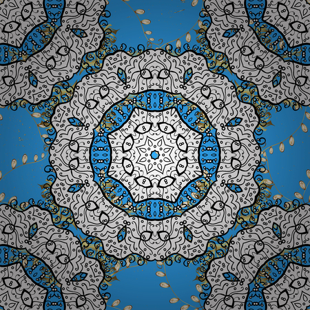 Damask classic golden pattern. Abstract background with repeating elements. Golden on blue background with golden elements. Stock Photo