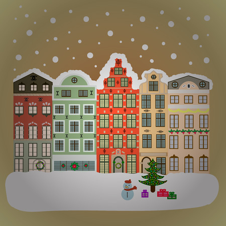 ball and chain: Background. Winter village landscape.