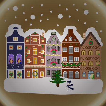 snow chain: Winter nature landscape. Cute town Christmas eve. Cityscape. Winter houses, road, tree. Greeting card, poster design. Winter in the city, christmas decor fir-trees. New year holidays. Stock Photo