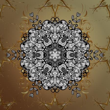 Ornate decoration. Vector illustration. Damask golden floral pattern on a beige background with white doodles.