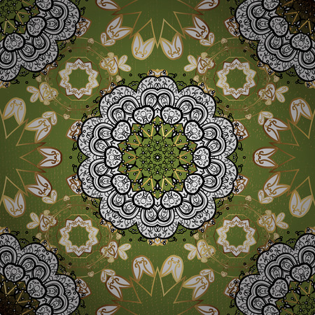 Openwork delicate golden pattern. Vector oriental style arabesques. Brilliant lace, stylized flowers, paisley. On green background with golden elements. Golden texture curls. Illustration