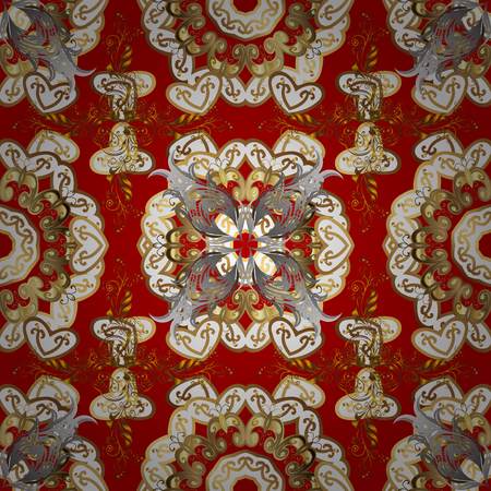 Golden elements on red background. Floral pattern. Seamless vector background. Sketch baroque, damask. Stylish graphic pattern.