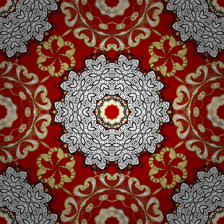 Vector traditional classic golden pattern with white doodles. Red on background. Seamless oriental ornament in the style of baroque. Illustration