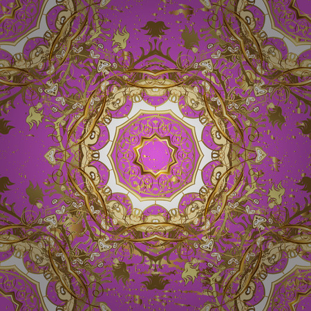 minaret: Floral ornament brocade textile pattern, glass, metal with floral pattern on pink background with golden elements. Classic vector golden pattern.