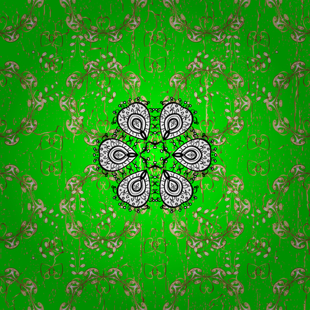 Pattern on green background with golden elements. Vector golden mehndi pattern. Ornamental floral elements with henna tattoo, golden stickers, mehndi and yoga design, cards and prints.